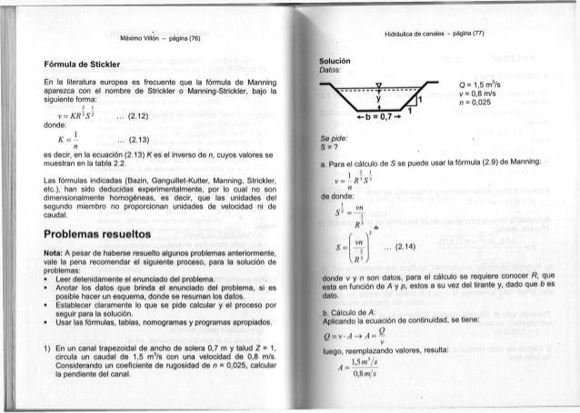 Máximo Villón - página (76) Fórmula de Stickler En la literatura europea es frecuente que la fórmula de Manning aparezca c...