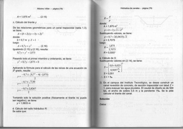 Máximo Villón - página ( 7 8 ) A = 1 , 8 7 5 m 2 . . . ( 2 . 1 5 ) c. Cálculo d e l t i r a n t e y D e l a s r e l a c i ...