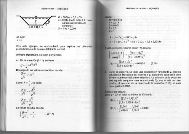 Máximo Villón - página (80) y ...... *-b = 0,5 Q = 500lps = 0,5 m3 /s n = 0,014 (de la tabla 2.2, para canales revestidos ...