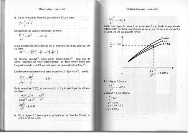 Máximo Villón - página (84) a. De la fórmula de Manning (ecuación 2.11), se tiene: 1 2 - x - Q = ~ A R 3 S 2 n Despejando ...