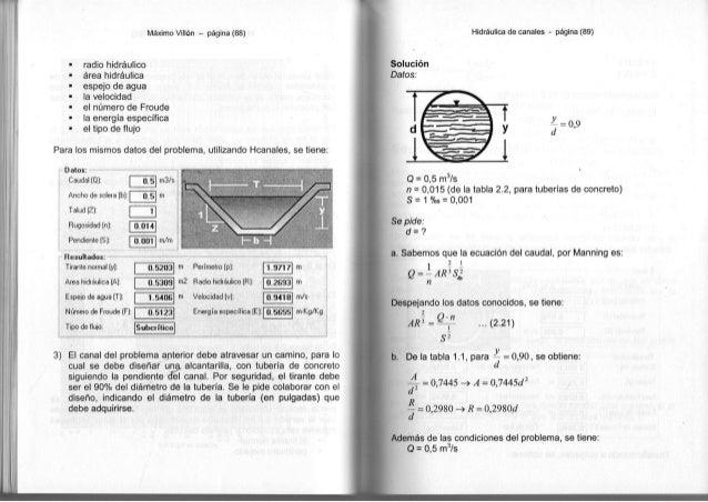 Máximo Villón - página ( 8 8 ) • r a d i o hidráulico • área hidráulica • e s p e j o d e a g u a • l a v e l o c i d a d ...