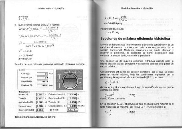 Máximo Vitjón - página (90) n = 0,015 S = 0,001 c. Sustituyendo valores en (2.21), resulta: {0J445d%29S0dr = °^°-X ^2 15 v...