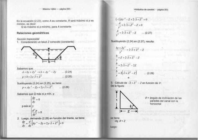 Máximo Vülón - página (92) En la ecuación (2.23), como A es constante, R será máximo si p es mínimo, es decir: Q es máximo...