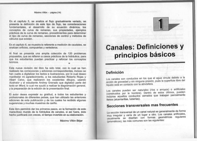 Máximo Villón - página (14) E n e l capítulo 5 , s e a n a l i z a e l f l u j o g r a d u a l m e n t e v a r i a d o , s...