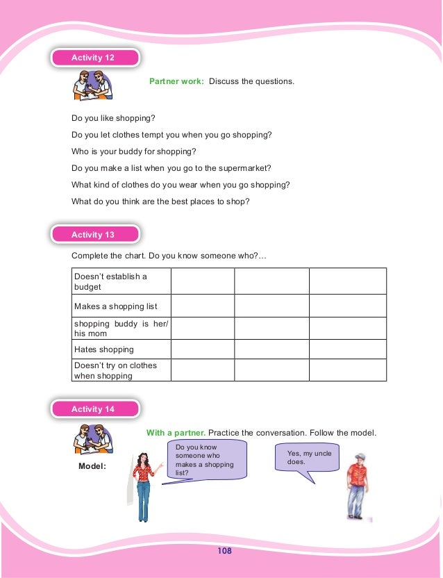 108 Activity 12  Partner work: Discuss the questions. Do you like shopping? Do you let clothes tempt you when you go shop...