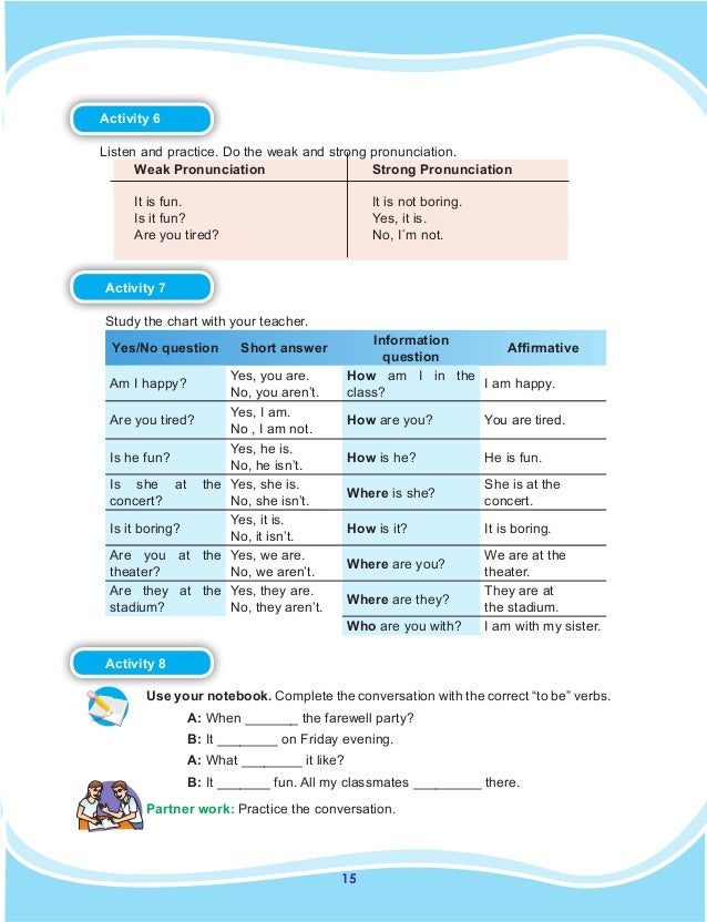 15 Activity 6  Listen and practice. Do the weak and strong pronunciation. Weak Pronunciation It is fun. Is it fun? Are y...