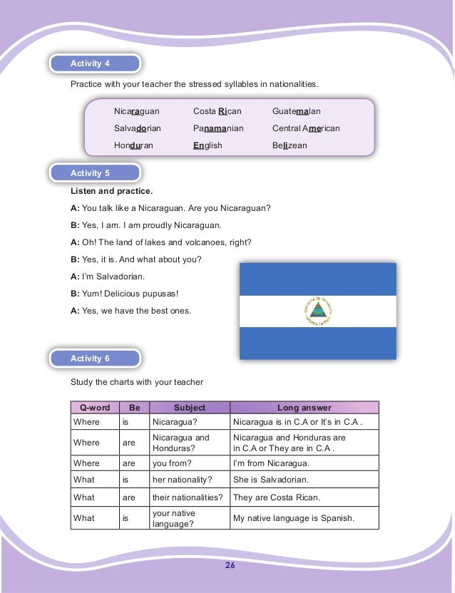 26 Activity 4 Practice with your teacher the stressed syllables in nationalities. Nicaraguan  Costa Rican  Guatemalan ...