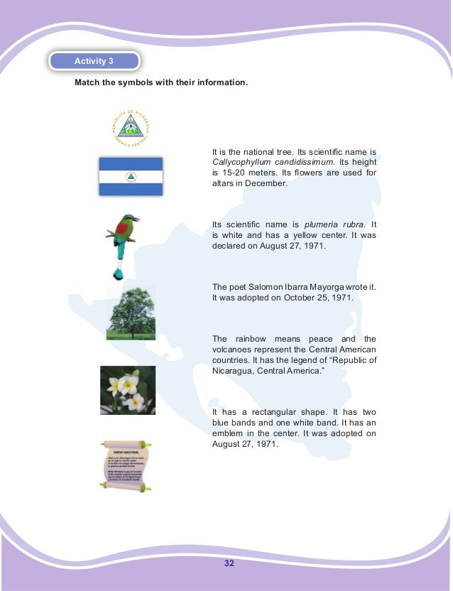 32 Activity 3 Match the symbols with their information. It is the national tree. Its scientific name is Callycophyllum can...