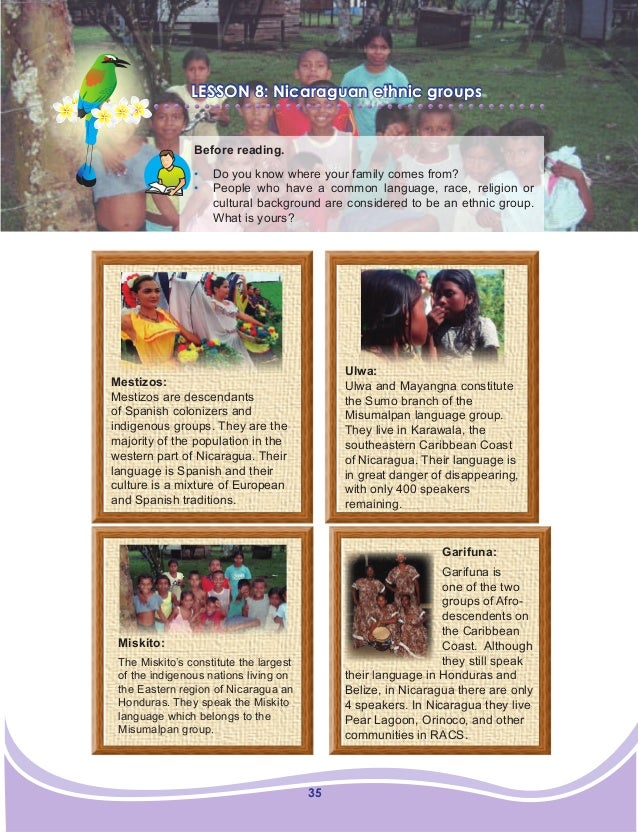 35 LESSON 8: Nicaraguan ethnic groups Before reading. • Do you know where your family comes from? • People who have a co...