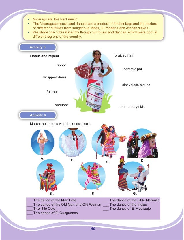 40 Activity 5 Listen and repeat. Activity 6 Match the dances with their costumes. ceramic pot ribbon sleeveless blouse wra...