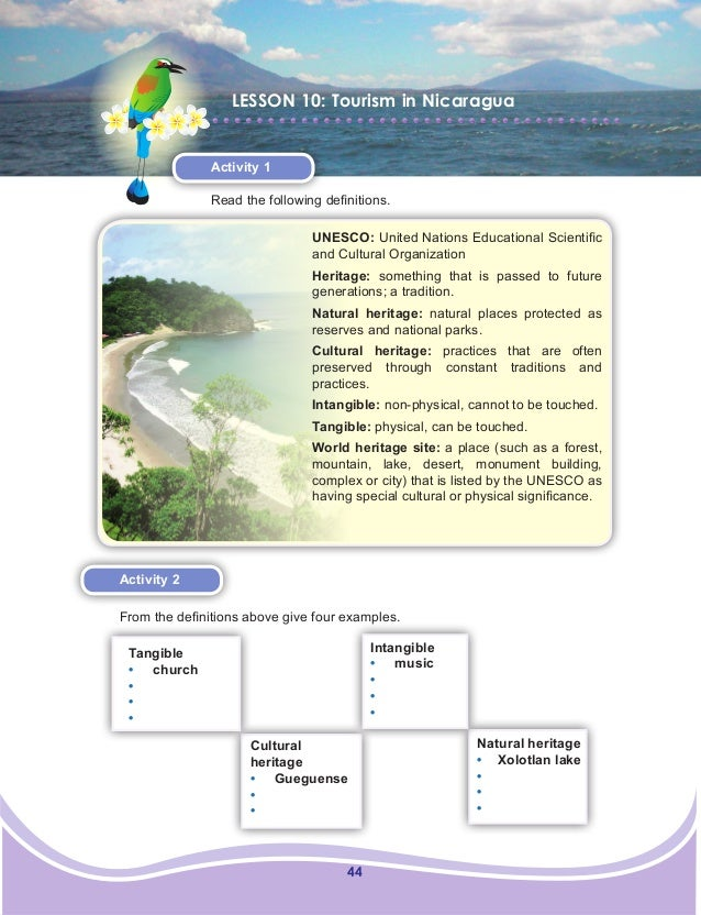 44 LESSON 10: Tourism in Nicaragua Activity 1 Read the following definitions. Activity 2 From the definitions above give f...