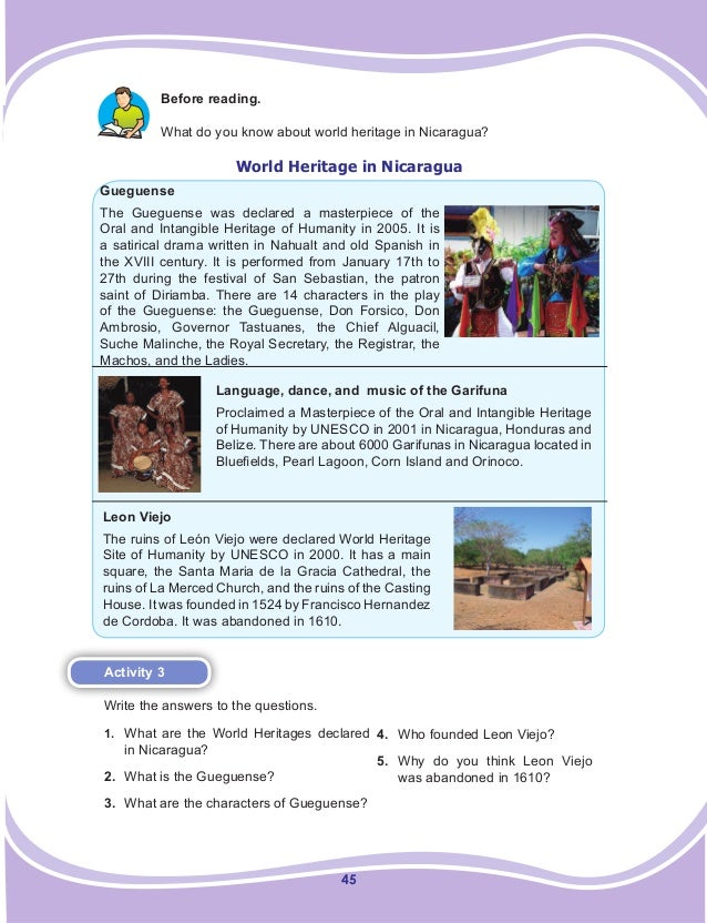 45 Before reading. What do you know about world heritage in Nicaragua? World Heritage in Nicaragua Gueguense The Gueguense...