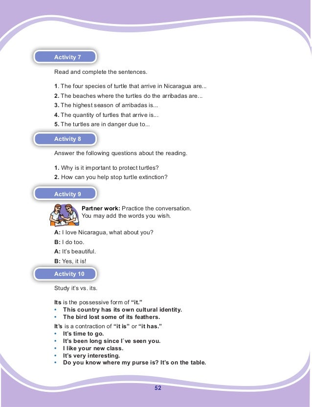 52 Activity 7 Read and complete the sentences. 1. The four species of turtle that arrive in Nicaragua are... 2. The beache...