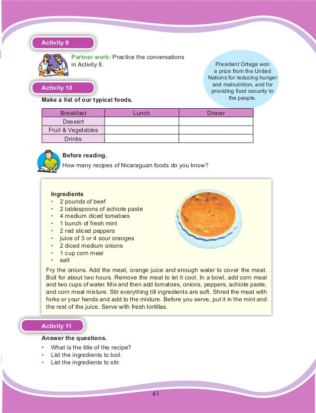 61 Activity 9 Partner work: Practice the conversations in Activity 8. Activity 10 Make a list of our typical foods. Breakf...