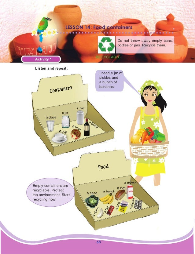 68 LESSON 14: Food containers Do not throw away empty cans, bottles or jars. Recycle them. Activity 1 Listen and repeat. I...