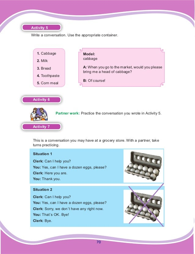 70 Activity 5 Write a conversation. Use the appropriate container. 1. Cabbage 2. Milk 3. Bread 4. Toothpaste 5. Corn meal ...