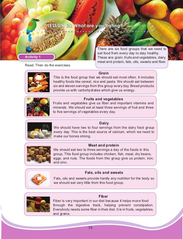 73 LESSON 15: What are you eating? Activity 1 Read. Then do the exercises. There are six food groups that we need to eat f...