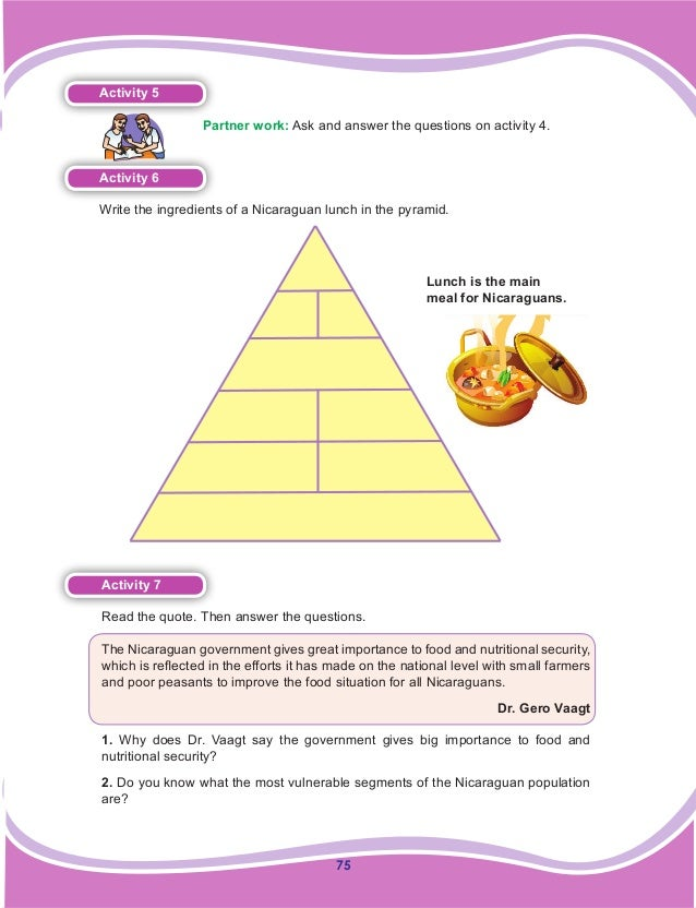 75 Activity 5  Partner work: Ask and answer the questions on activity 4. Activity 6 Write the ingredients of a Nicaragua...