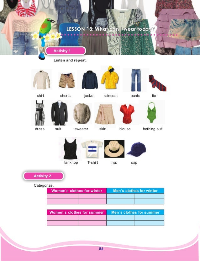 86 LESSON 18: What can I wear today? Activity 1 Listen and repeat. Activity 2 Categorize. Women´s clothes for winter Men´s...