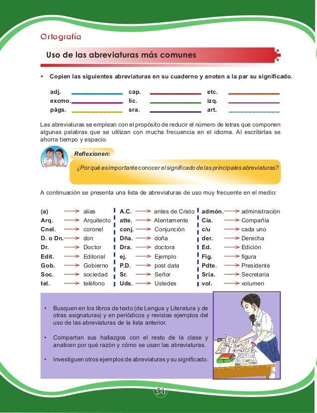 Libro de lengua y literatura 11mo grado - Abreviatura de arquitecto ...