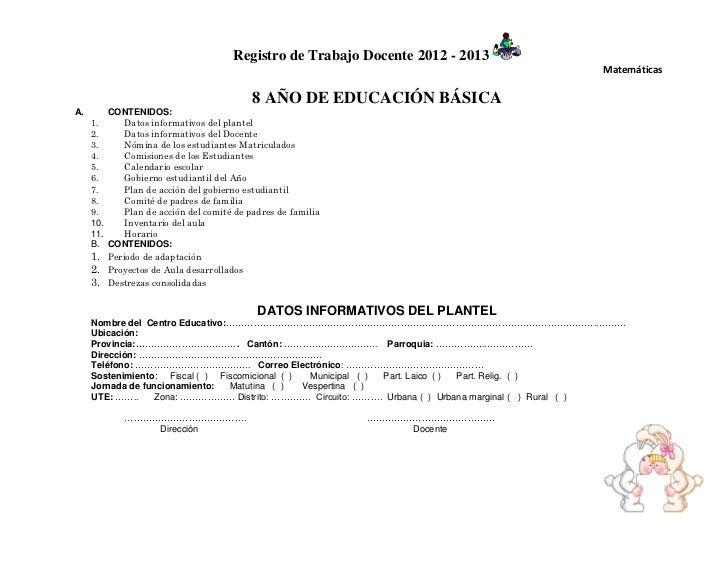 Registro de Trabajo Docente 2012 - 2013                                                                                   ...
