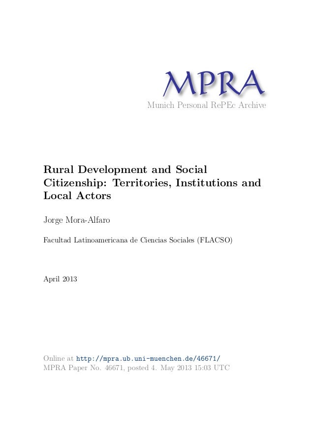 MPRAMunich Personal RePEc Archive Rural Development and Social Citizenship: Territories, Institutions and Local Actors Jor...