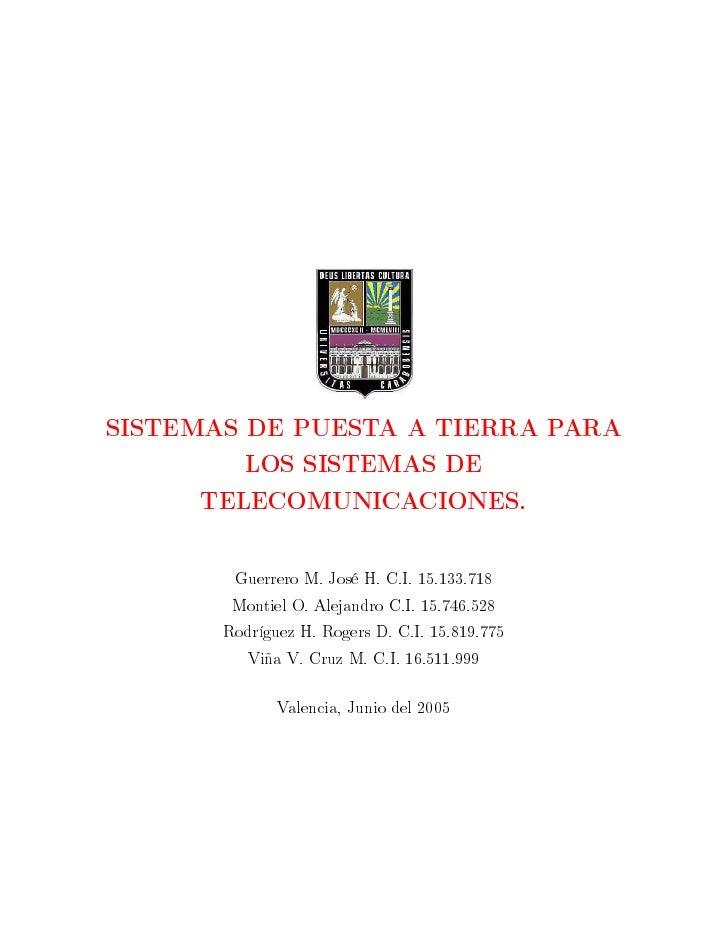 Sistema de puesta a tierra para telecomunicaciones pdf