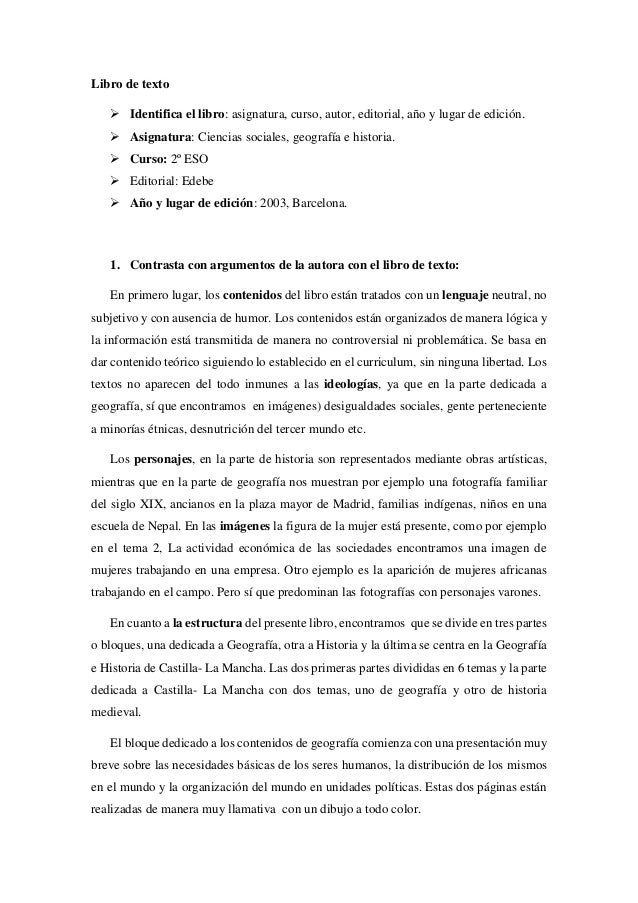 Libro de texto   Identifica el libro: asignatura, curso, autor, editorial, año y lugar de edición.   Asignatura: Ciencia...
