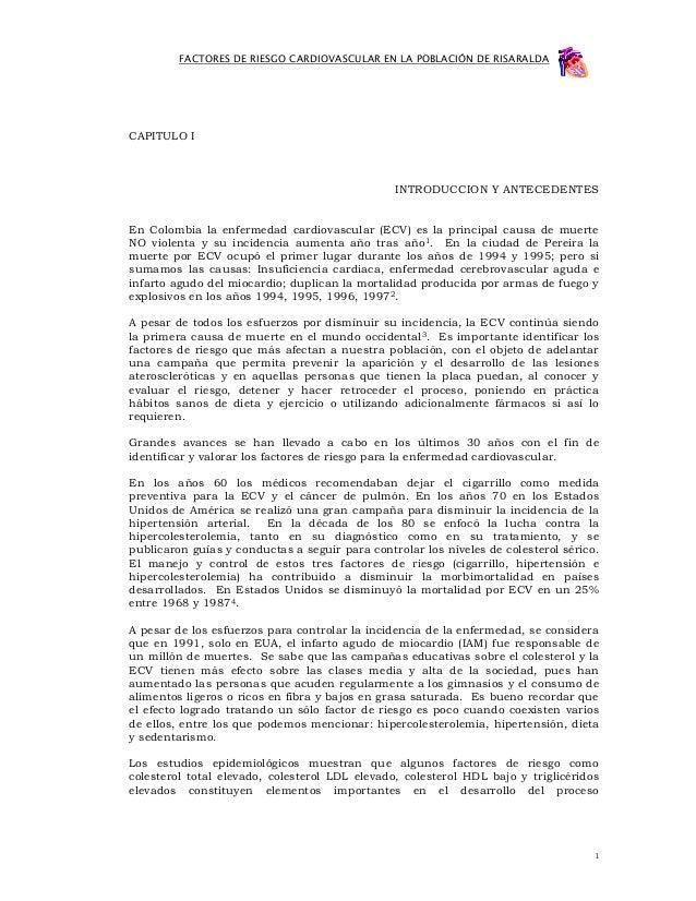 FACTORES DE RIESGO CARDIOVASCULAR EN LA POBLACIÓN DE RISARALDACAPITULO I                                                IN...