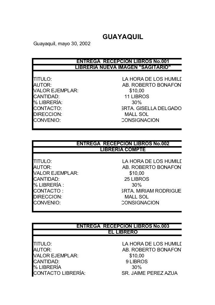 """GUAYAQUILGuayaquil, mayo 30, 2002                 ENTREGA RECEPCION LIBROS No.001                 LIBRERÍA NUEVA IMAGEN """"S..."""