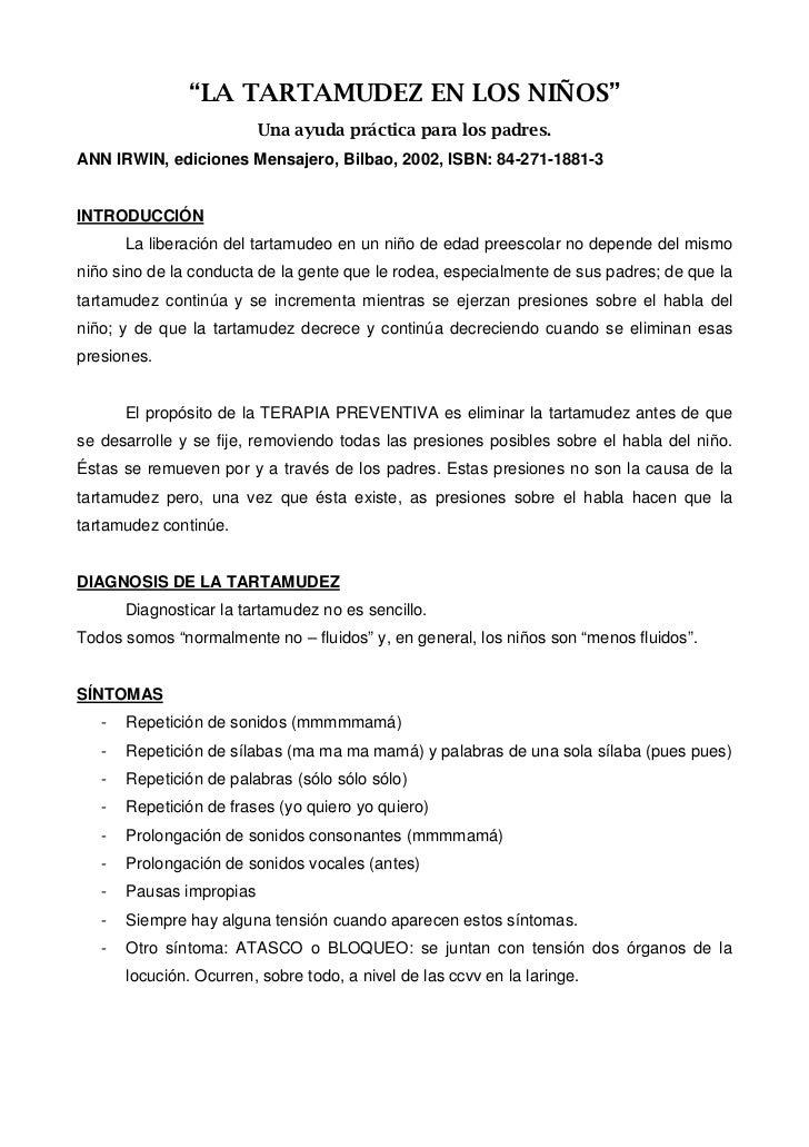 """""""LA TARTAMUDEZ EN LOS NIÑOS""""                          Una ayuda práctica para los padres.ANN IRWIN, ediciones Mensajero, B..."""