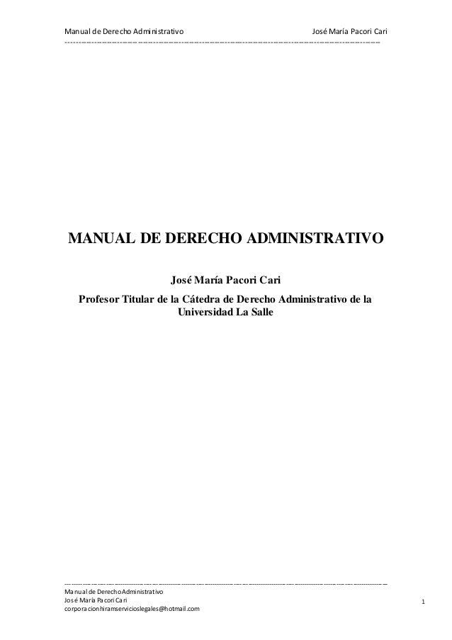 Manual de Derecho Administrativo José María Pacori Cari  -----------------------------------------------------------------...