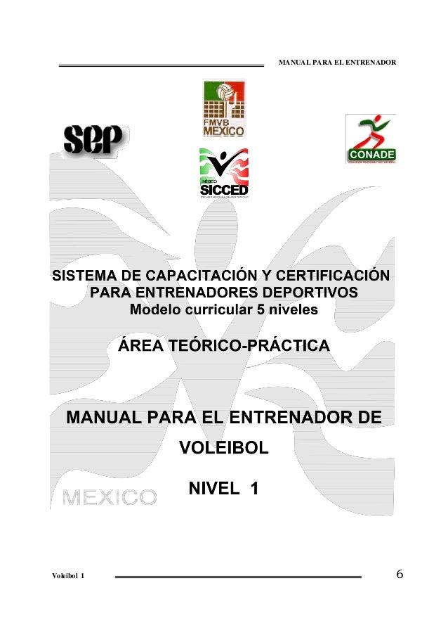 Libro manual voleibol I y II, teorico 1 SICCED