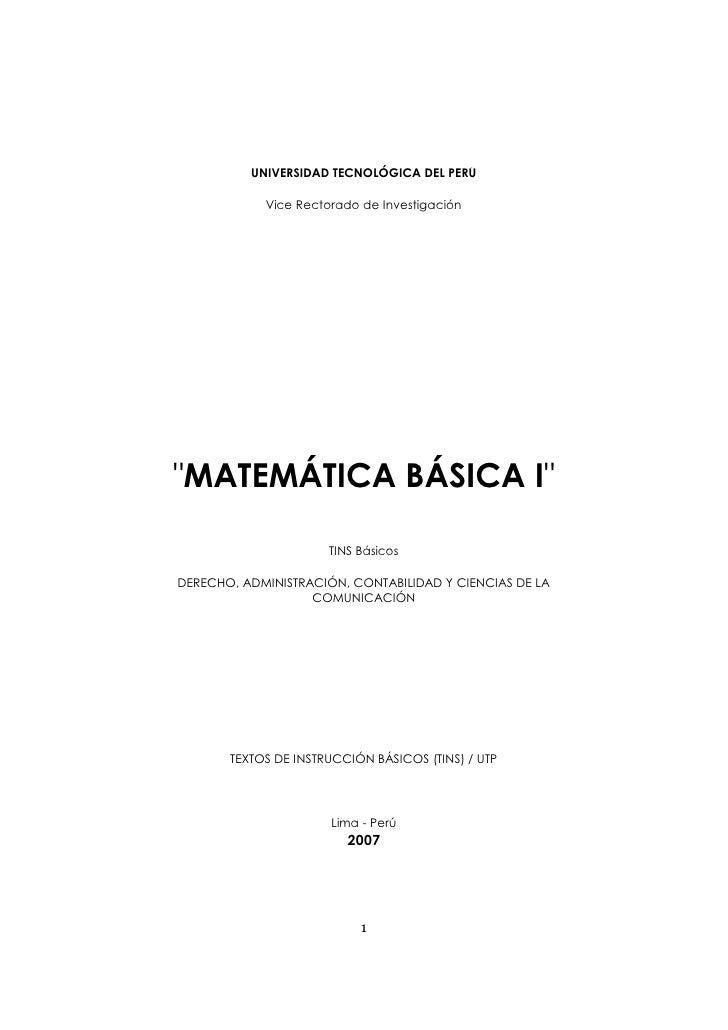 """MATEMÁTICA BÁSICA I          UNIVERSIDAD TECNOLÓGICA DEL PERÚ            Vice Rectorado de Investigación""""MATEMÁTICA BÁSICA..."""