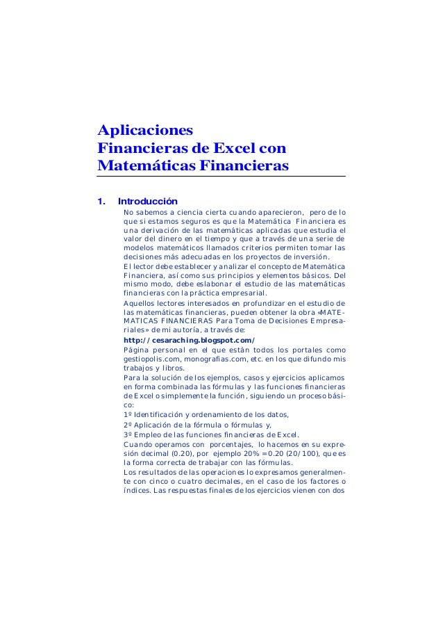 César Aching Guzmán 10APLICACIONES FINANCIERAS DE EXCEL CON MATETMATICAS FINANCIERASAplicacionesFinancieras de Excel conMa...