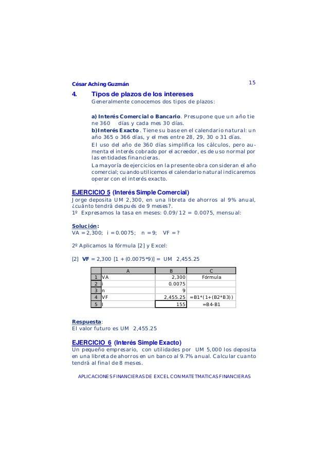 César Aching Guzmán 15APLICACIONES FINANCIERAS DE EXCEL CON MATETMATICAS FINANCIERAS4. Tipos de plazos de los interesesGen...