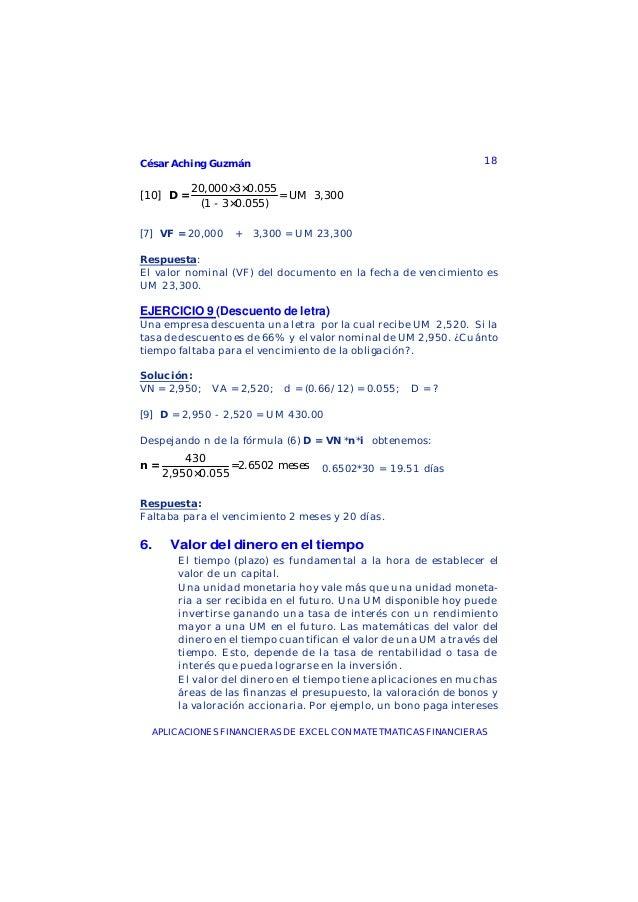 César Aching Guzmán 18APLICACIONES FINANCIERAS DE EXCEL CON MATETMATICAS FINANCIERAS20,000×3×0.055[10] = UM 3,300(1 - 3×0....