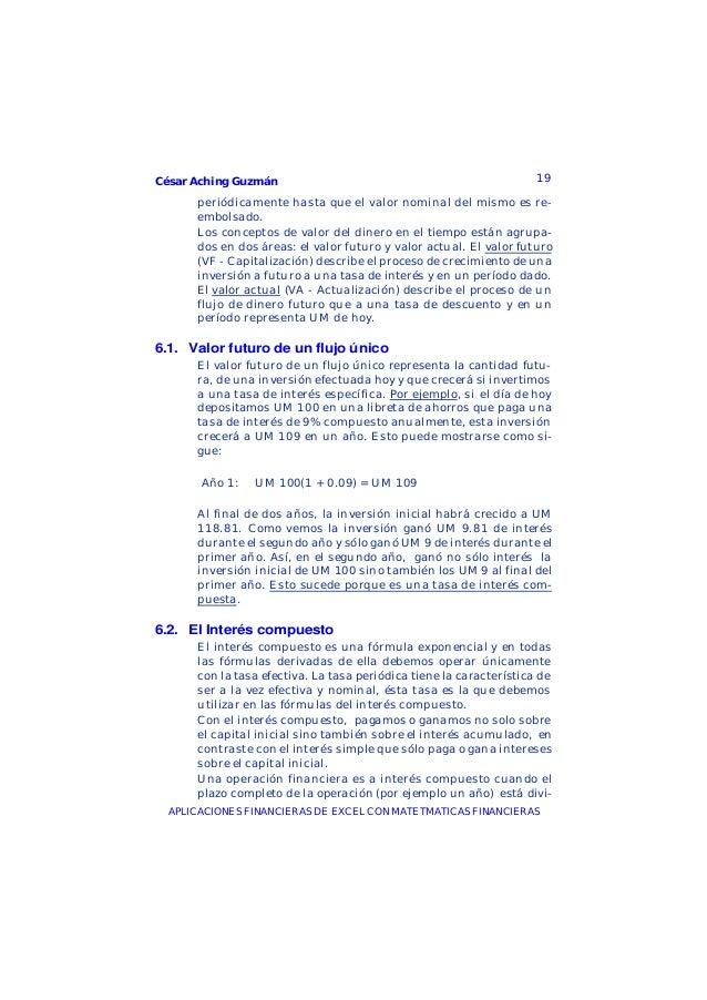 César Aching Guzmán 19APLICACIONES FINANCIERAS DE EXCEL CON MATETMATICAS FINANCIERASperiódicamente hasta que el valor nomi...
