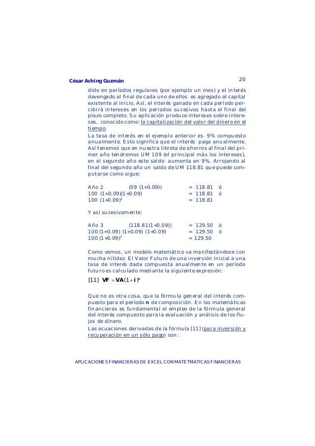 César Aching Guzmán 20APLICACIONES FINANCIERAS DE EXCEL CON MATETMATICAS FINANCIERASdido en períodos regulares (por ejempl...