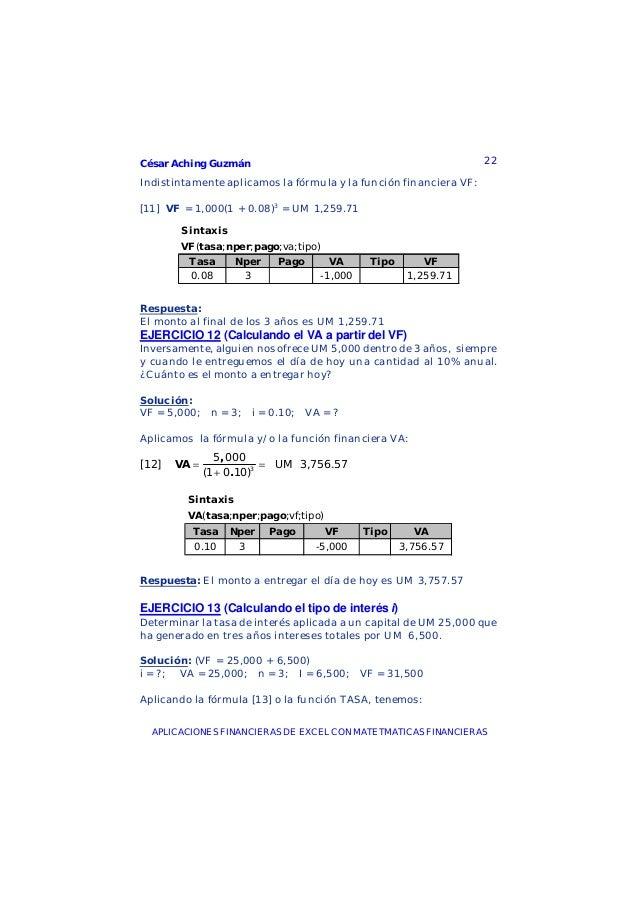 César Aching Guzmán 22APLICACIONES FINANCIERAS DE EXCEL CON MATETMATICAS FINANCIERASIndistintamente aplicamos la fórmula y...