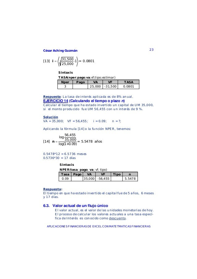 César Aching Guzmán 23APLICACIONES FINANCIERAS DE EXCEL CON MATETMATICAS FINANCIERAS331,500[13] -1 = 0.080125,000i =Sintax...