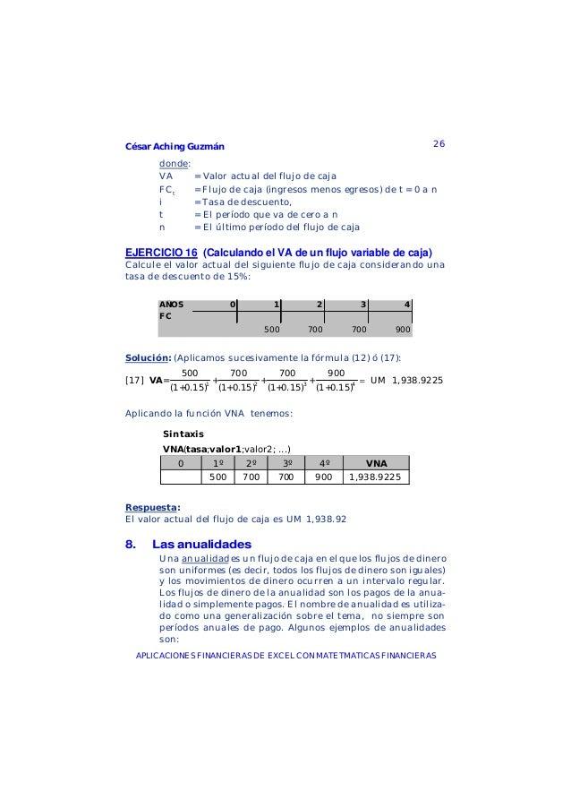 César Aching Guzmán 26APLICACIONES FINANCIERAS DE EXCEL CON MATETMATICAS FINANCIERASdonde:VA = Valor actual del flujo de c...