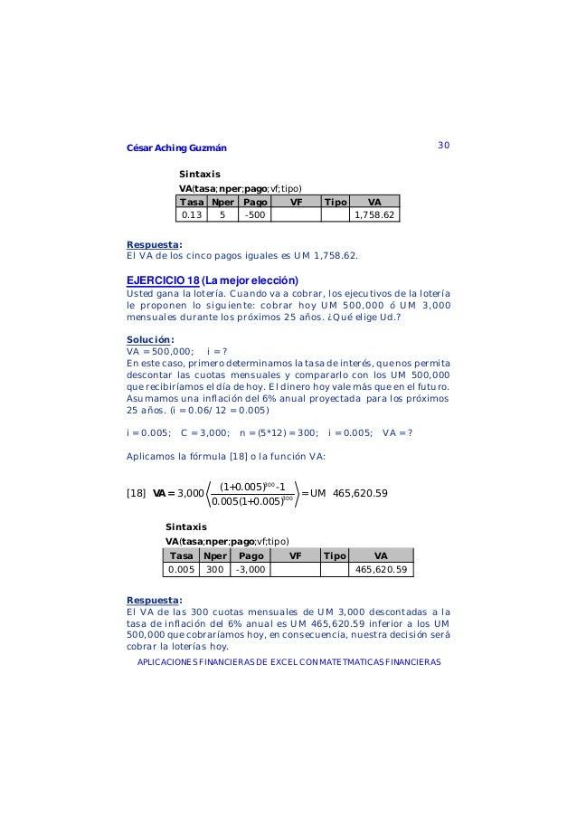 César Aching Guzmán 30APLICACIONES FINANCIERAS DE EXCEL CON MATETMATICAS FINANCIERASSintaxisVA(tasa;nper;pago;vf;tipo)Tasa...