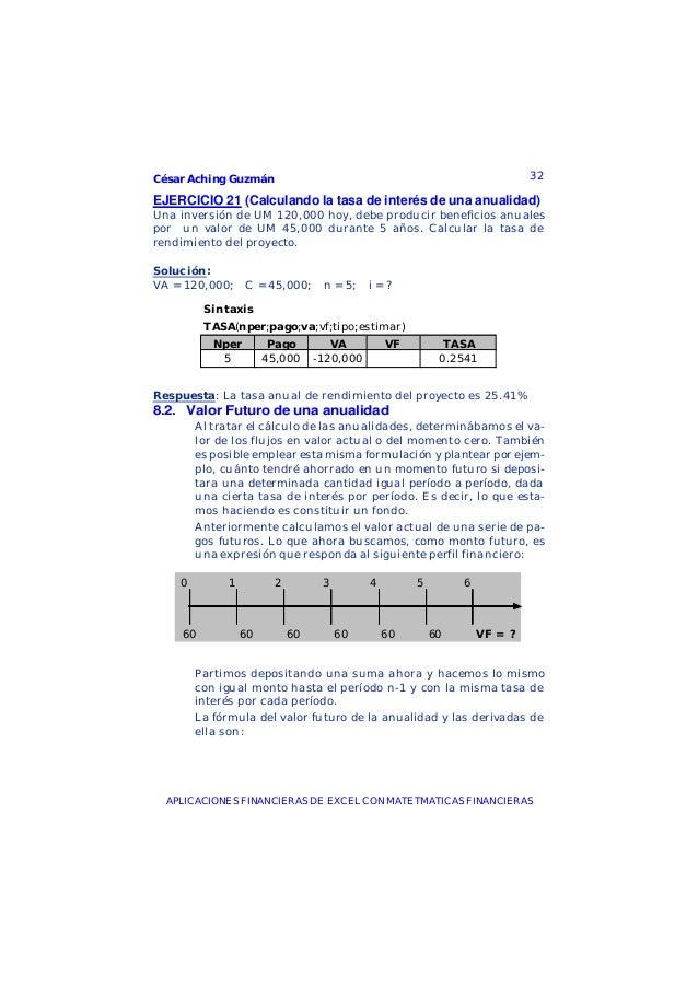 César Aching Guzmán 32APLICACIONES FINANCIERAS DE EXCEL CON MATETMATICAS FINANCIERASEJERCICIO 21 (Calculando la tasa de in...