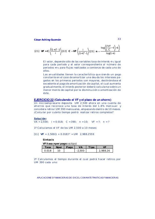 César Aching Guzmán 33APLICACIONES FINANCIERAS DE EXCEL CON MATETMATICAS FINANCIERASn(1+i) -1[21]iVF = C ni[22](1+i) -1=C ...