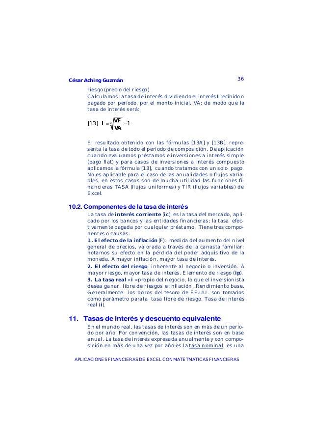 César Aching Guzmán 36APLICACIONES FINANCIERAS DE EXCEL CON MATETMATICAS FINANCIERASriesgo (precio del riesgo).Calculamos ...
