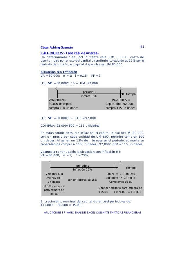 César Aching Guzmán 42APLICACIONES FINANCIERAS DE EXCEL CON MATETMATICAS FINANCIERASEJERCICIO 27 (Tasa real de interés)Un ...