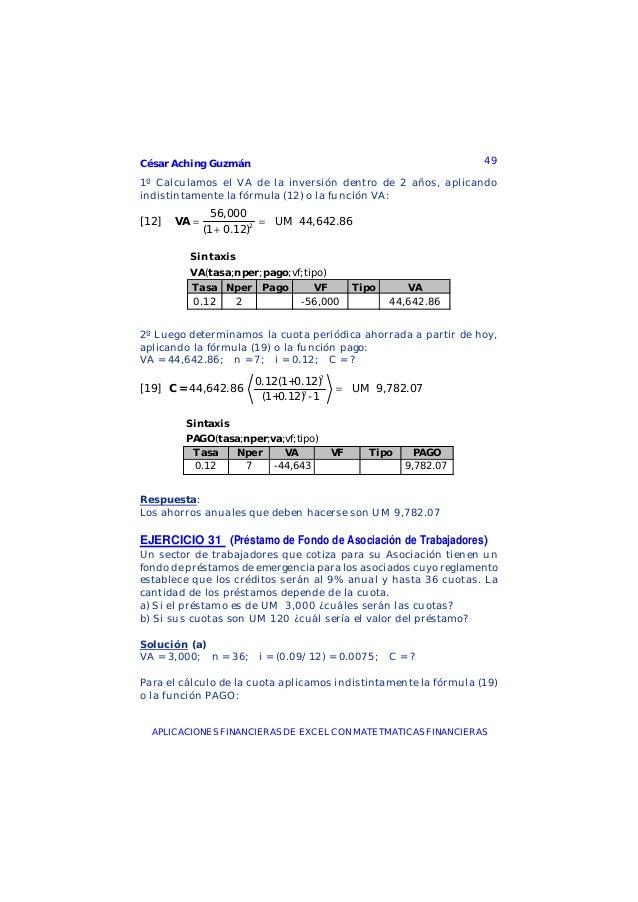 César Aching Guzmán 49APLICACIONES FINANCIERAS DE EXCEL CON MATETMATICAS FINANCIERAS1º Calculamos el VA de la inversión de...