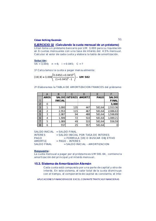 César Aching Guzmán 51APLICACIONES FINANCIERAS DE EXCEL CON MATETMATICAS FINANCIERASEJERCICIO 32 (Calculando la cuota mens...