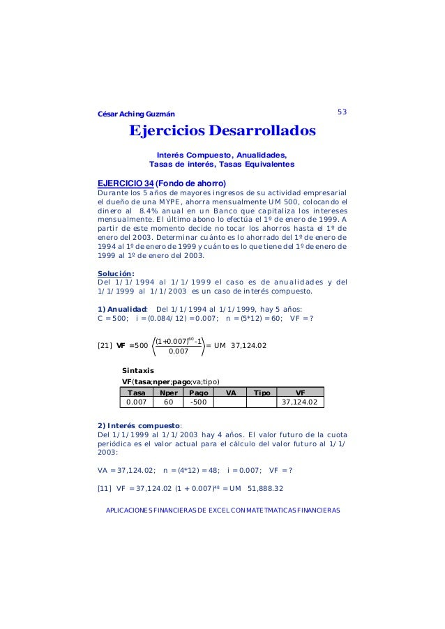 César Aching Guzmán 53APLICACIONES FINANCIERAS DE EXCEL CON MATETMATICAS FINANCIERASEjercicios DesarrolladosInterés Compue...
